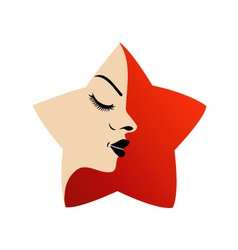 A ladys face in a red flower vector
