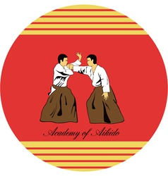 Emblem of aikido two men get busy on a red vector
