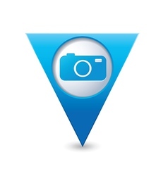 Camera icon on map pointer blue vector