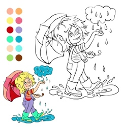 Coloring book rainy weather theme vector