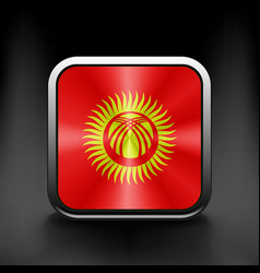 Square icon with flag of kyrgyzstan vector