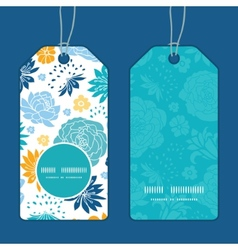Blue and yellow flowersilhouettes vertical round vector