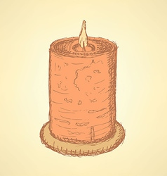 Sketch cute candle in vintage style vector