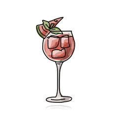 Cocktail with watermelon sketch for your design vector