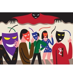People in masks vector