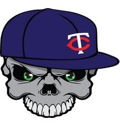 Skull baseball cap vector