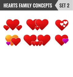 Hearts family concepts set 2 vector