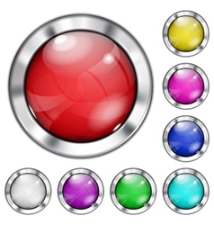 Set of opaque glass buttons vector
