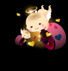 Baby angel with hearts vector