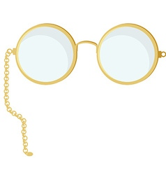 Golden round glasses vector