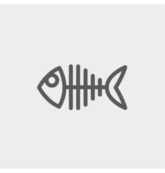 Fish skeleton thin line icon vector