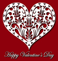 Valentine card with white lace heart vector