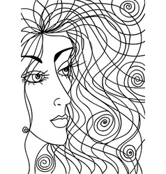 Abstract sketch of woman face vector
