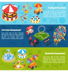Amusement isometric banners vector