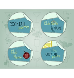 Summer cocktail party badge and label layout vector