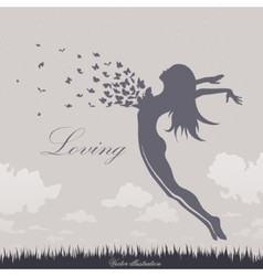Girl with butterflies in a jump vector
