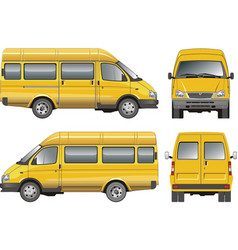 Yellow mini bus vector
