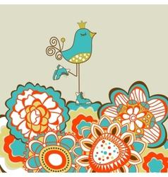 Floral garden and cute bird vector