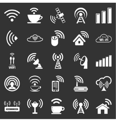 Set of twenty five wifi icons vector