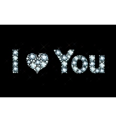 I love you - diamond letters vector