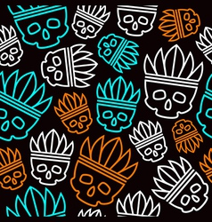Seamless pattern skull in headdress vector