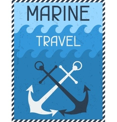 Marine travel nautical retro poster in flat design vector