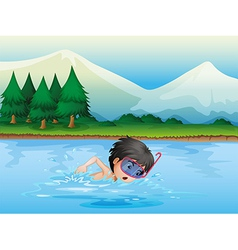 A river with a kid swimming vector