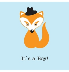 Baby boy fox arrival announcement birth card vector