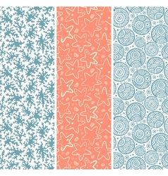 Set of coral and sea star seamless vector