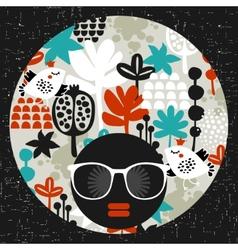 Black head woman in retro sunglasses vector