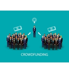 Flat of an infographic crowdfunding concept a vector