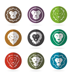 Group of lion face in the circle vector