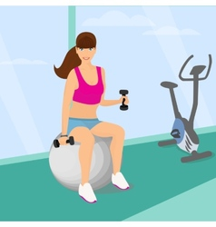 Beautiful woman exercising with two dumbbell vector