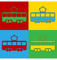 Pop art tram icons vector