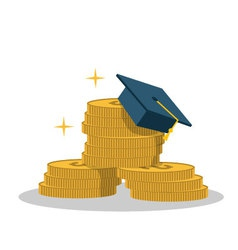 Isolated cartoon gold coin and expensive education vector