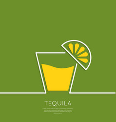Glass of tequila with lemon vector
