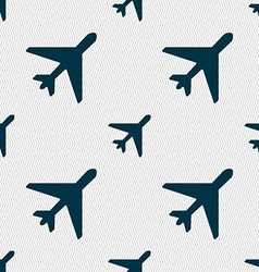 Airplane icon sign seamless pattern with geometric vector