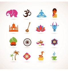 Collection of india icons vector