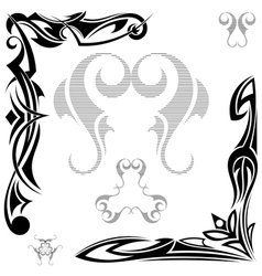 Set of black elements tribal tattoo vector