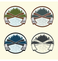 Set of vintage lumberjack labels and design vector