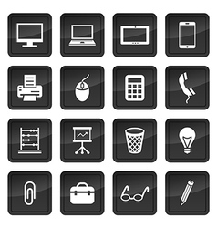 Icons of office devices and equipment with dark vector