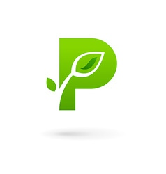 Letter p eco leaves logo icon design template vector