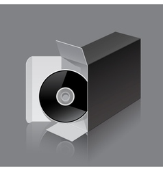 Black package box opened lying on its side with vector