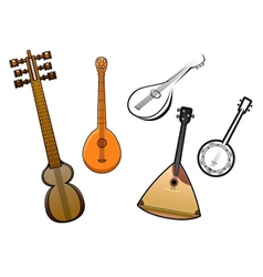 Folk stringed musical instruments design elements vector