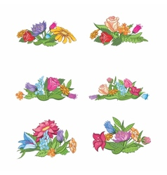 Set of flower vignettes vector