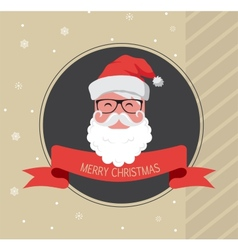 Vintage card of hipster santa claus happy new year vector