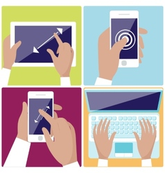 Human hands holding digital devices icons set vector