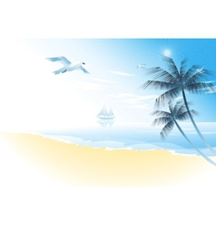 Summer beach with palm trees vector