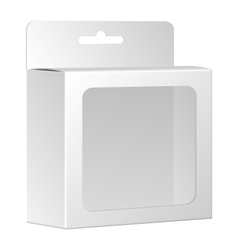 Blank white product package box with window vector