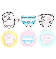 Diverse styles of diape and panties sets vector